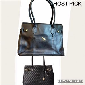 Emma Fox Windham Quilted Black Leather Tote Bag